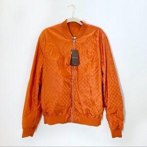NWT Gucci Orange Logo Reversible Bomber Jacket